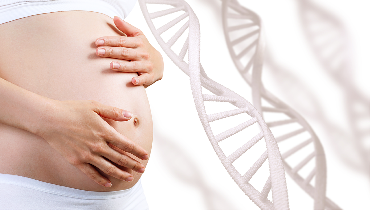 pregnant woman with dna background