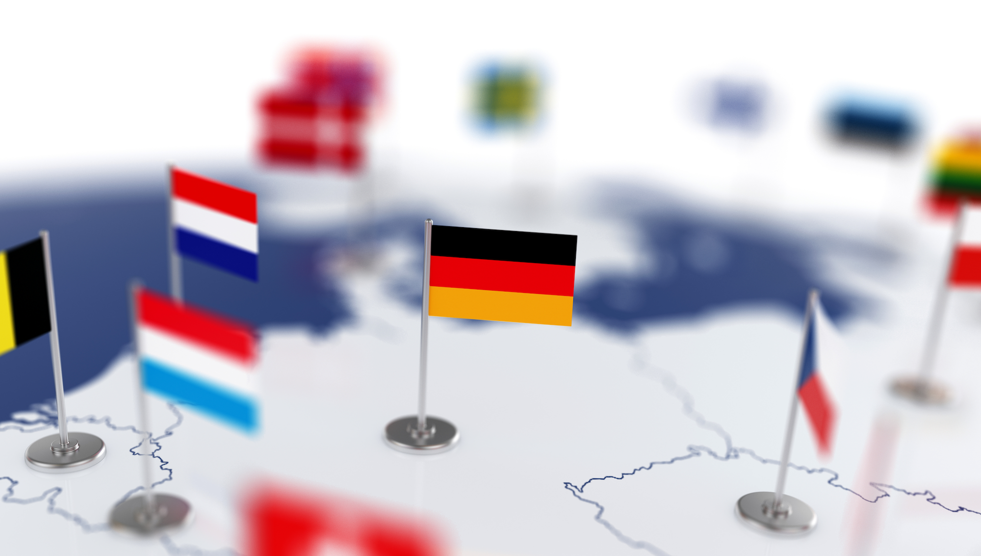 Country flags pinned to Europe map