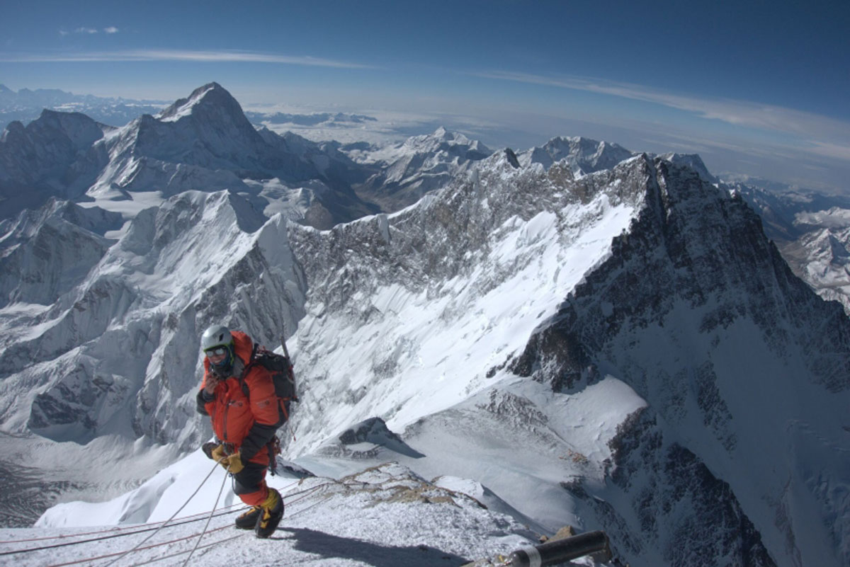 a hiker on mount everest