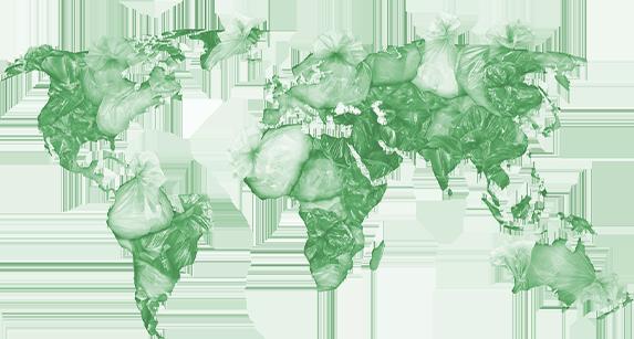 world map of trash