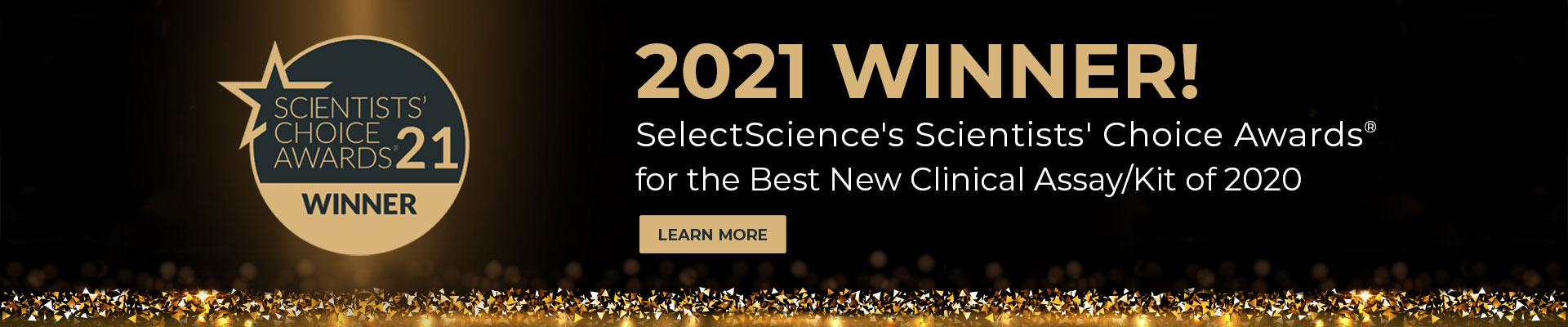 banner showing the Quick-DNA/RNA Viral Magbead Kit and its 2021 scientsts' choice award for best new clinical assay/kit