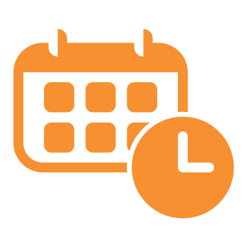 green icon with a calendar and clock