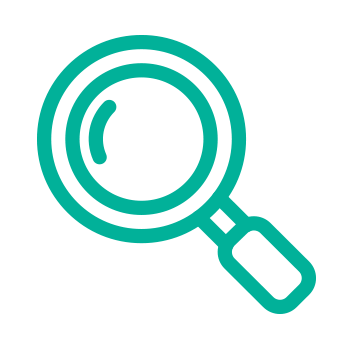 green icon of a magnifying glass