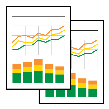 image of two pages containing a line chart and bar chart on each