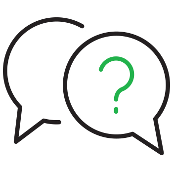 Image of two speech bubbles with a question mark inside one.