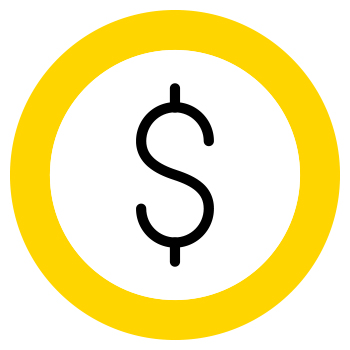 dollar sign in a yellow circle