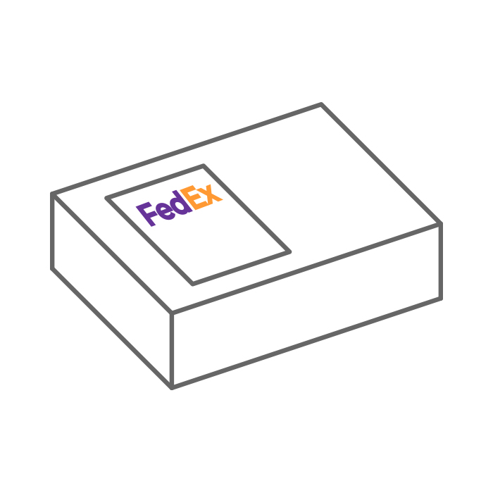 clipart style image showing sample in a FedEx box being shipped