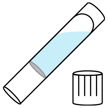 Image of the SafeCollect collection tube partially filled with a liquid and an unscrewed tube cap