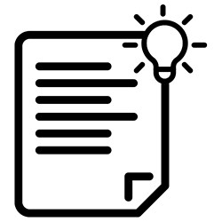 icon of document page with a light bulb
