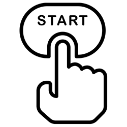 icon of a finger clicking start