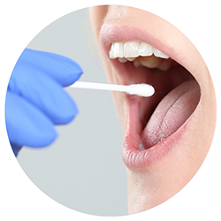 a woman sticking a collection swab into their mouth