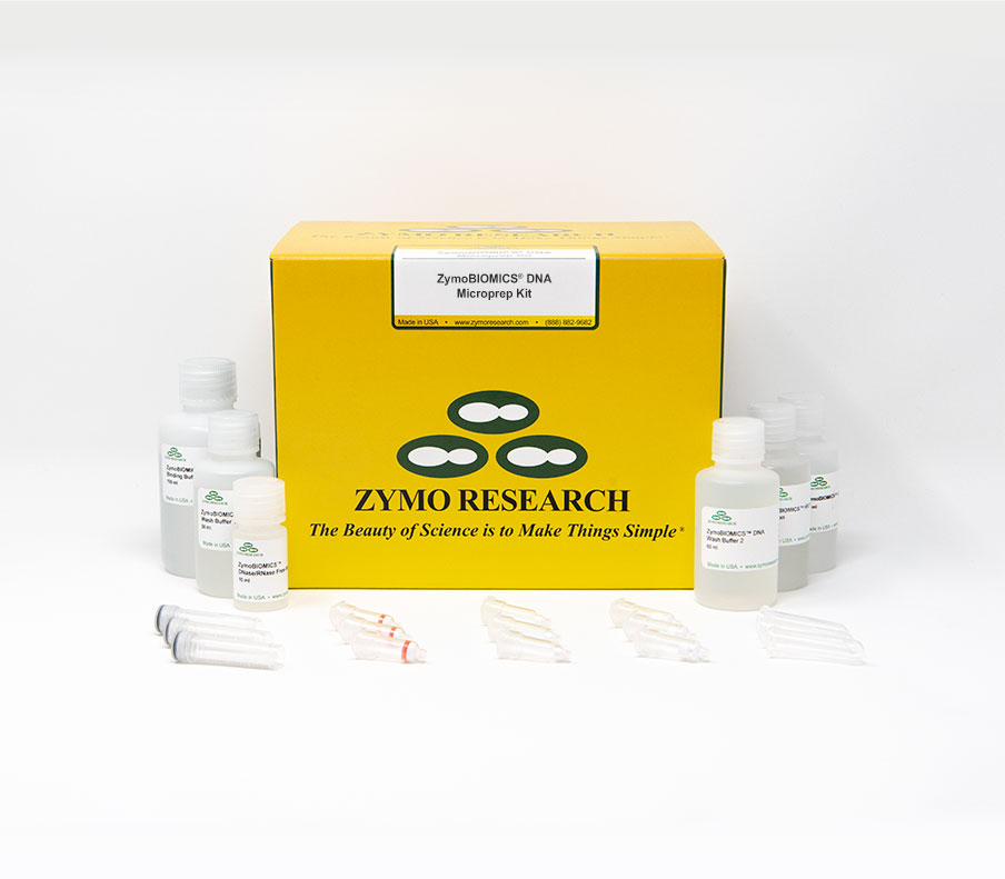 ZymoBIOMICS DNA Microprep Kit (50 preps) Includes:  [D4305] ZymoBIOMICS Microprep Kit x 1  [S6012-50] ZR BashingBead Lysis Tubes 50 pack x 1 [D4300-1-40] ZymoBIOMICS Lysis Solution, 40 ml x 1
